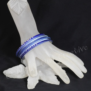 Ethnic Bangle Set Silvertone and Blue Jewelled - Size Medium